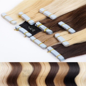 Tape On In Extensions Human Hair Skin Wefts 16 inch length - 8 braids a 4 cm -high quality remy hair with intact cuticle, Colour:#10 gold brown