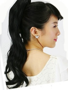 Wavy hair butterfly clip hair extension, instant DIY style hair extension, off black.