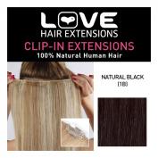 Love Hair Extensions 100% Human Hair Clip in Extensions Colour 1B Natural Black