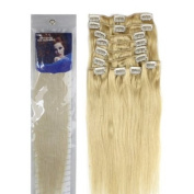 supermodel 36cm LIGHT BLONDE (Col 60). Full Head Clip in Human Hair Extensions. High quality Remy Hair!. 100g Weight