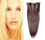 41cm (#2 Darkest Brown) Clip in Human Hair Extensions-10 Piece Set-Luxury Full Head-Clip Attached-120g weight- Ideal structure and volume for Full Head-Grade AAA