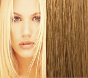 46cm (#12 Light Golden Brown) Clip in Human Hair Extensions-10 Piece Set - Luxury Full Head-Clip Attached-120g weight-Extra more volume -Grade AAA