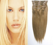 46cm (#8 Light Brown) Clip in Human Hair Extensions-10 Piece Set - Luxury Full Head-Clip Attached-120g weight-Grade AAA