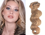 Clip in Hair Extensions-Body Wave-46cm #24/27 100% Human Hair Grade AAA