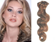 Clip in Hair Extensions-Body Wave-46cm #4/27 100% Human Hair Grade AAA