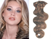 Clip in Hair Extensions-Body Wave-46cm #P6/613 100% Human Hair Grade AAA