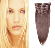 60cm (#6 Medium Brown) Clip in Human Hair Extensions-10 Piece Set-Luxury Full Head-Clip Attached-120g weight- Ideal structure and volume for Full Head-Grade AAA