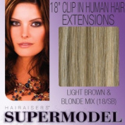 Supermodel Clip In Human Hair Extensions 18 -inch Colour 18/SB Brown and Ash Blonde