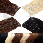 Clip In Extensions Remy Human Hair 24 inch 60 cm hair length - 8 braids set - different colours available - XXL Set, Colour:#1 black - 2509