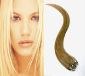 100S 50cm Micro Loop Ring Hair Extensions-#8 Light Brown-REMY HAIR-100 strands-80g-Grade AAA