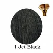 20'' Pre-Bonded Stick Tip Indian Remy Grade A 0.9g #1 Jet Black 100 strands