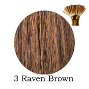 20'' Pre-Bonded Stick Tip Indian Remy Grade A 0.9g #3 Raven Brown