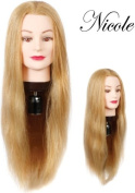 Cosmetology Mannequin Head 100% Human Hair, Blonde Hair 60cm Long
