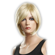 CoolShort Bob Gold Natural Straight side swept fringe bang hairstyle Hair Style Women Wig