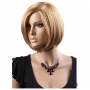 CuteShort Bob Gold Natural Straight side swept fringe bang hairstyle Hair Style Women Wig