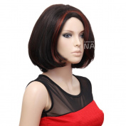 SexyShort Bob Natural Straight side swept fringe bang hairstyle With Red Side Highlights