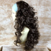 Dark Coffee Brown 3/4 Fall Hairpiece Long Curly Layered Half Wig Hair Piece