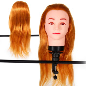 18'' Blonde #144 , Female Barber Hairdresser Hair Hairdressing Hair Cutting Student Practise Training Head Doll Mannequin , with Clamp Holder