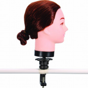 18'' 50% Real Human Hair _ Auburn Brown #33 , Female Barber Hairdresser Hair Hairdressing Hair Cutting Student Practise Training Head Doll Mannequin , with Clamp Holder