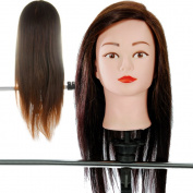 18'' 80% Real Human Hair _ Dark Brown #4 , Female Barber Hairdresser Hair Hairdressing Hair Cutting Student Practise Training Head Doll Mannequin , with Clamp Holder