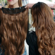 One Piece long curl/curly/wavy hair extension clip-on sexy stylish fashion Brown