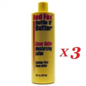 3 x RED FOX BOTTLE O' BUTTER PURE COCOA BUTTER MOISTURISING BODY LOTION 470ml