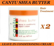 2 x CANTU SHEA BUTTER LEAVE IN CONDITIONER / HAIR REPAIR CREAM 473ml
