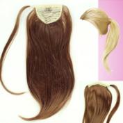 Ladies 1 Piece Clip Medium Golden Brown Straight Ponytail Wrap around Pony UK