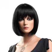 Songmics Fashion Lady's Wig Female Black Straight Short 30cm WFY091