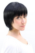 SHORT fringy Lady QUALITY Wig Bob CUTE Fringe RAVEN BLACK