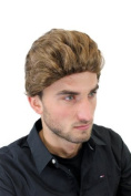 Men's WIG (for Men or Unisex) HIGH QUALITY synthetic short WILD ONE ish WIND-brushed/combed (slight quiff) 50ies Rockabilly LIGHT BROWN youthful young look GFW1286-12 James Dean