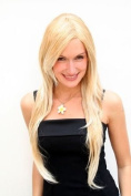 BREATHTAKING blonde LADY Quality WIG very long BLOND MIX straight SEXY PARTING