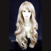 Sexy Beautiful Layered wavy Blonde mix Long Ladies Wigs Skin Top Wig UK 27H613