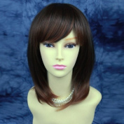 Face Frame Layered Straight Brown Auburn mix Ladies Wig UK