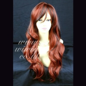 Long Wavy Dark Brown mix Copper Red Ladies Wigs skin top WIWIGS UK