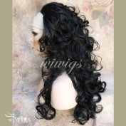 Black Curly Long 3/4 Wig Fall Hairpiece Hair Extension Ladies Wigs