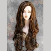 Fabulous Long Layers Wavy BROWN mix Ladies Wigs Skin Top WIWIGS UK