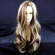 Fabulous Long Wavy BROWN mix Blonde Ladies Wigs UK