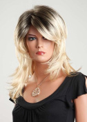 Forever Young Ladies Blonde Wig in 2 Tone Dip-Dye Dark Brown White Blonde Mix Amazing Vogue Wigs