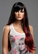 Forever Young XXX Long Black Fashion Wig in 2 Tone Black Red Mix. Amazing Vogue Wigs UK!