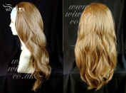 NEW Golden Blonde mix Long 3/4 Wig Fall Hairpiece Wavy Layered Hair Piece UK