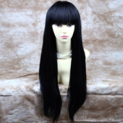 NEW Sexy Long Straight Jet Black Wigs centre Skin top Wig Hair WIWIGS UK