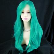 Heat Resistant Cosplay Long Layes Wavy Jade Green mix Ladies Wigs Skin Top UK
