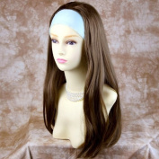 NEW Heat Resistant Light Brown 3/4 Fall Hair Piece Long Straight Half Wig hairpiece UK