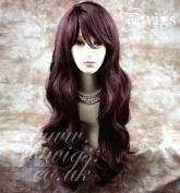 Sexy Beautiful Layered wavy Dark Auburn Long Ladies Wigs Skin Top Wig UK #33