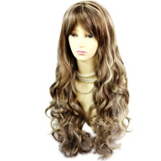 Stunning Sexy Long Wavy Wig Brown mix Blonde Curly Ladies Wigs Skin Top UK