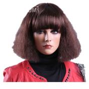 Fluffy Charming Neat Bangs Corn Hot Dark Brown Short Wigs