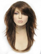 Warm Redish Brown, Long Layered Tip Flip Wig