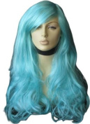 Blue-Green Wig With A Side Parting And Big Loose Curls, Extra Long