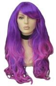 Extra Long Dip Dye Purple Wig With Loose Curls